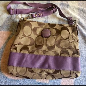 Coach Crossbody Brown & Purple Purse